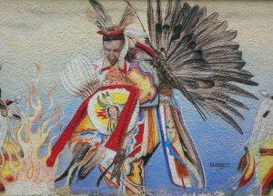 Détail de l'une des magnifiques murales qui décorent la ville de The Pas, au Manitoba