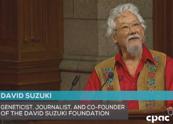 David Suzuki speaking at the Canada 150 Senate Symposium