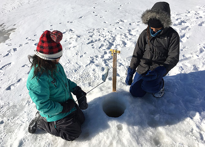 Ice fishing at Club Odanak.
