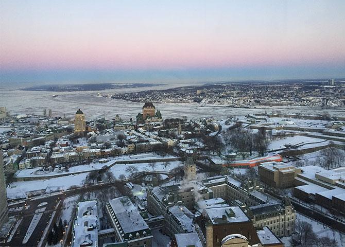 La vue de la ville du 31ème étage de l'Observatoire de la Capitale.