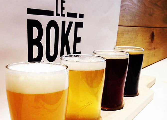 You can sample different La Pêcheresse beers at restaurant Le Boké (© Le Boké)
