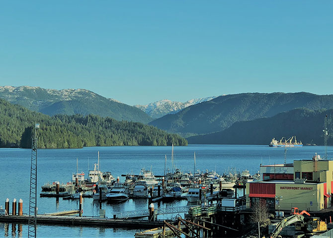 The scenic view of the Prince Rupert waterfront.