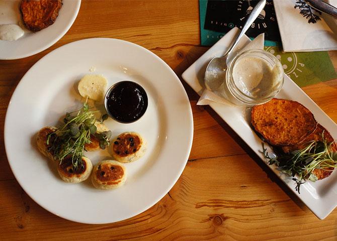 Welsh griddle cakes and piri piri roasted sweet potato at Miijida (© Taste Detours)