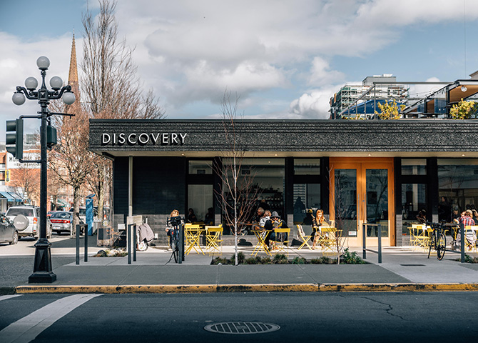 Discovery Coffee is located along Victoria's bustling Fort Street