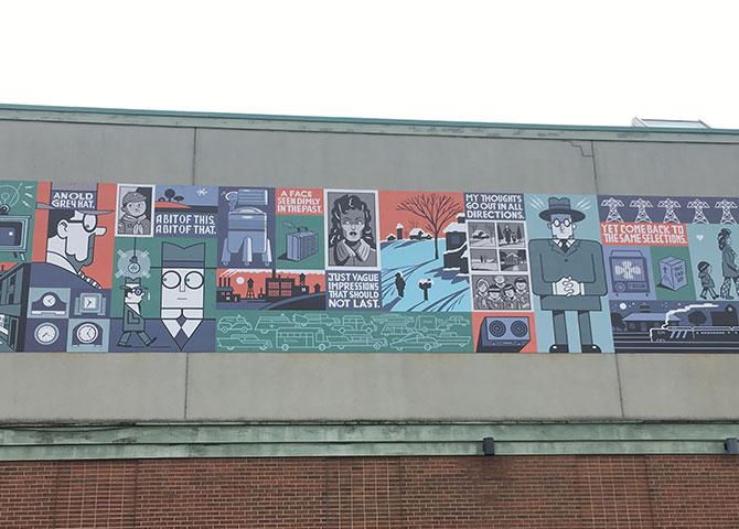 La grande murale par dessinateur Seth dehors du magasin Bookshelf