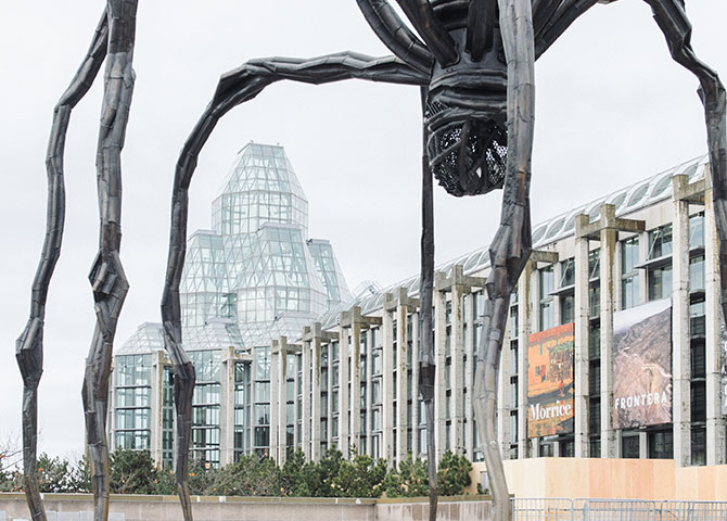 The iconic spider sculpture outside the National Gallery