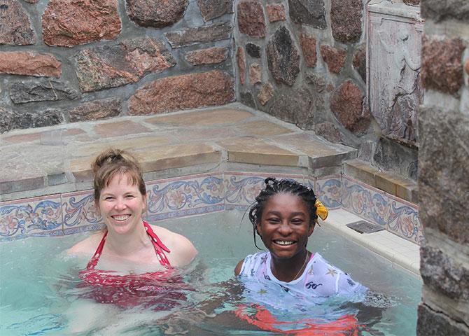 Valerie and Aimée enjoying the spa