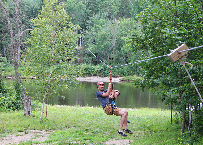 Make your way across the river with Over the Cove Zip-line