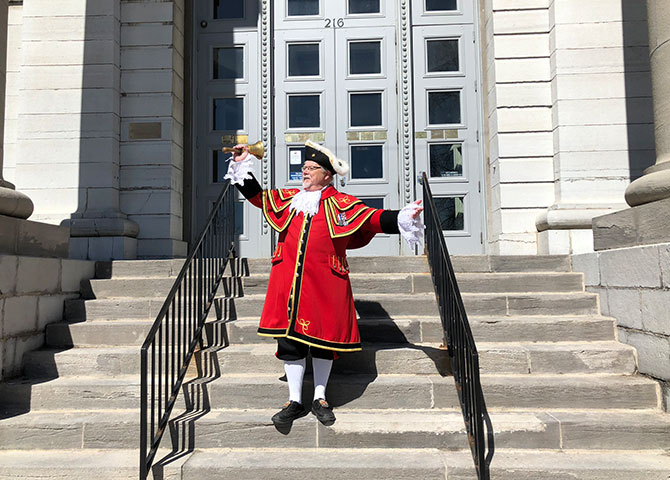 "Chris Wyman, Kingston's official ""town crier"""