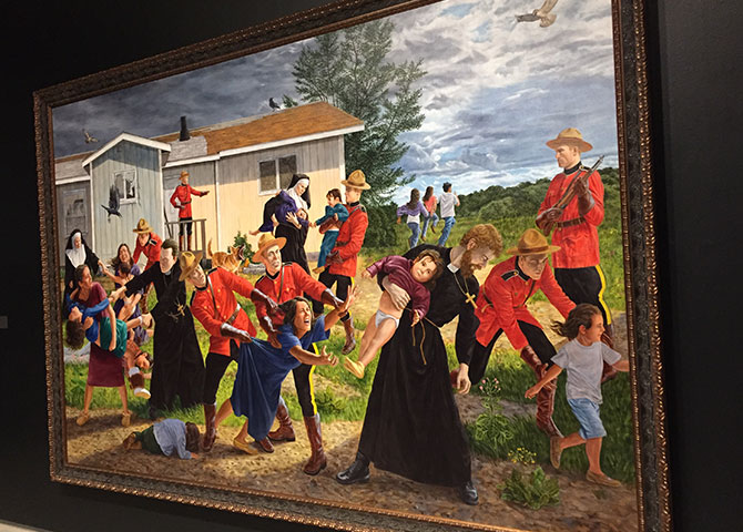 One of the paintings in Kent Monkman's exhibit, Shame and Prejudice: A Story of Resilience