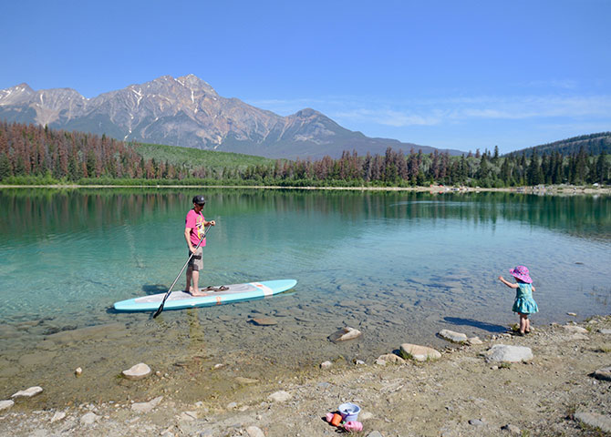The crystal clear blue waters of Patricia Lake