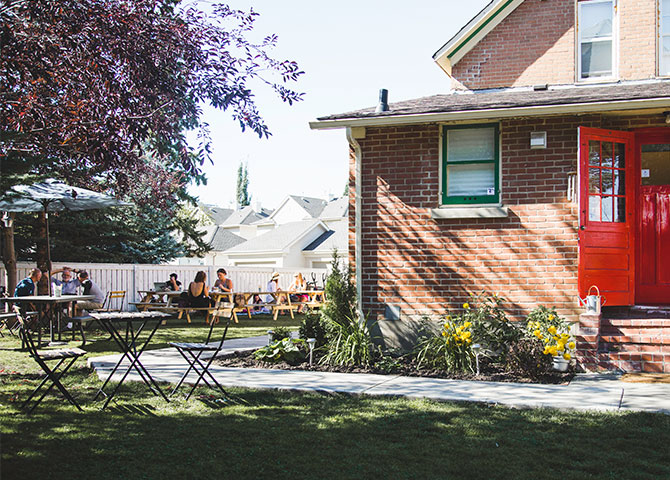 Stop by Little Brick's well-known patio for a coffee or tasty brunch