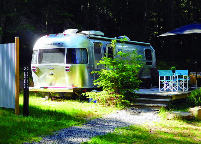 The renovated Airstream trailers at The Woods on Pender Island blend nostalgia with luxury