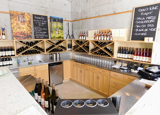 Enjoy a glass in Sea Star Vineyard's tasting room on Pender Island